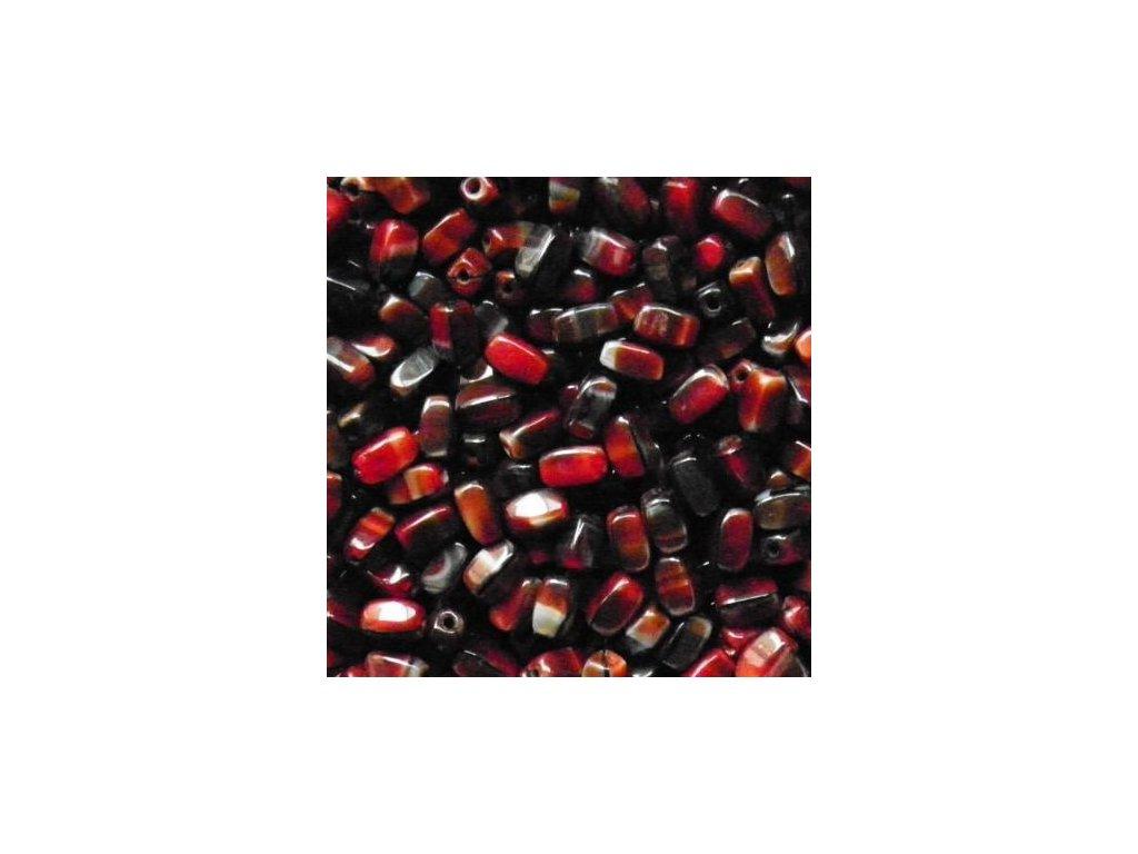 Korálky mačkané - BW25 - drops 26907 černo-červený