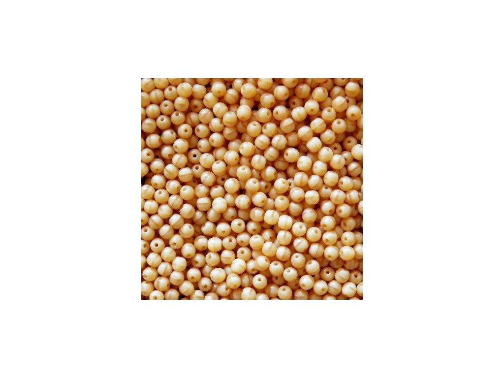 Korálky mačkané - kulička 4 mm - 14010 béžová