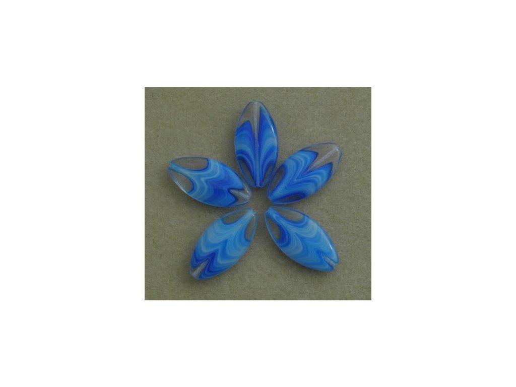 Korálky mačkané - MKL121 - lístek velký modrý