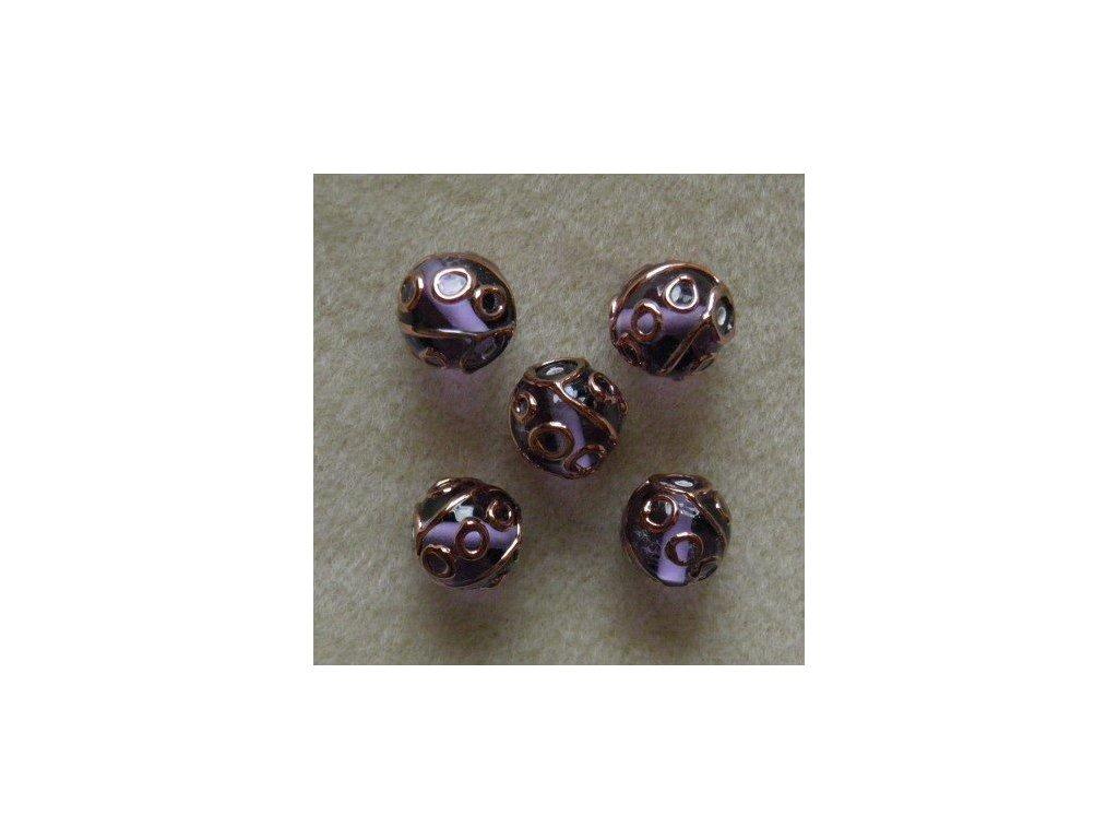 Kulička fuchsiová - zdobená zlatým špíglem 12 mm