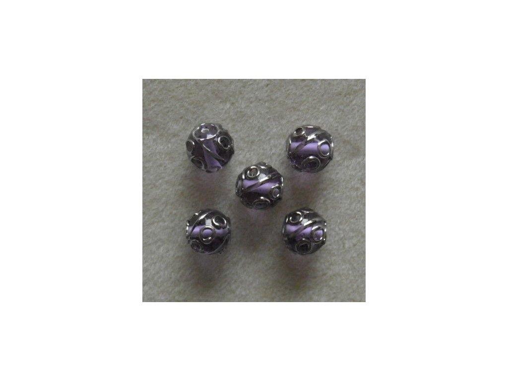 Kulička fuchsiová zdobená stříbrným špíglem 12 mm