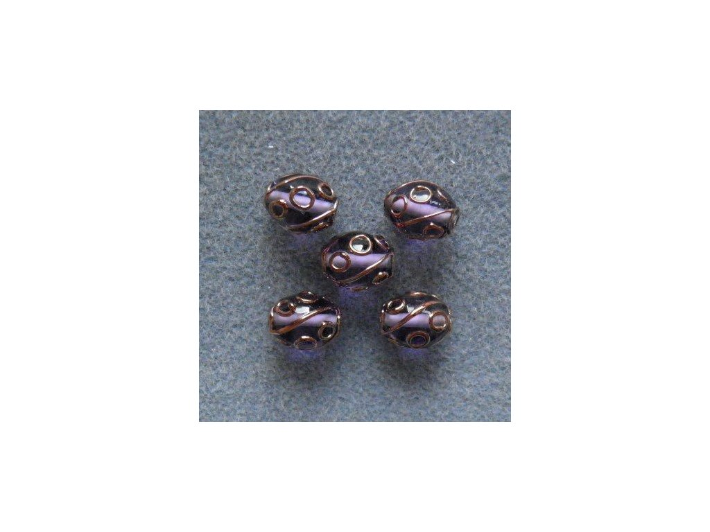 Oliva fuchsiová špíglovaná stříbrem malá 14/10 mm