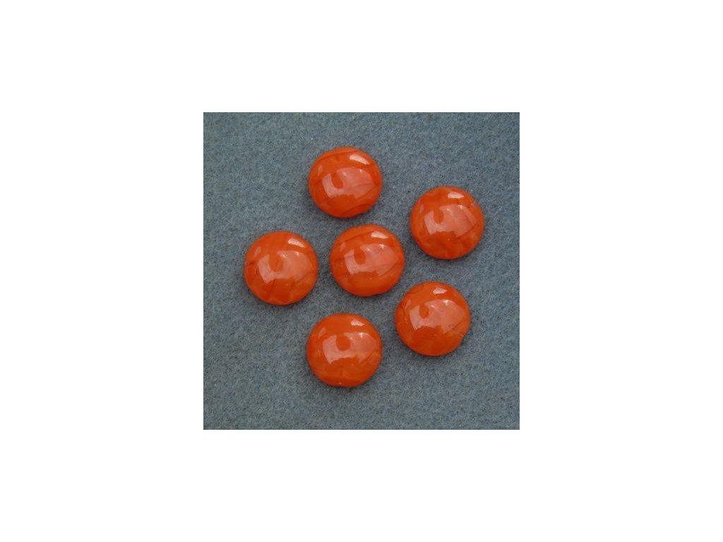 Korálky mačkané - MKL130 - lentilka oranžová 96017