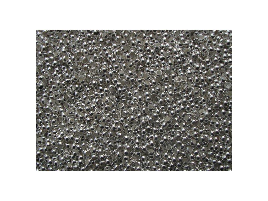 Zamačkávací rokajl - kulatý 2,0 stříbrný (5 gramů)