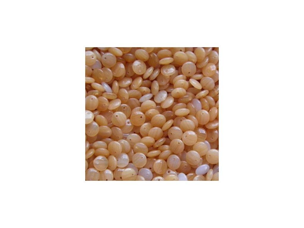 Korálky mačkané - BP22 - čočka béžová lesklá