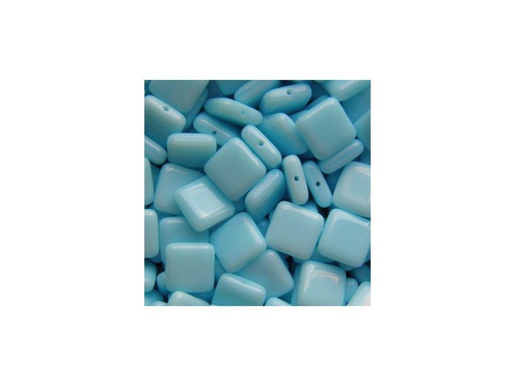 Korálky mačkané - BP34 - modrý čtvereček - 10 mm