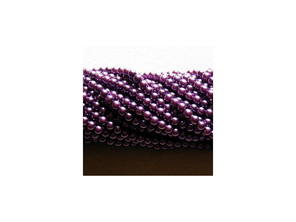 Korálky - voskované perle 8 mm tmavá fialová (DOVOZ)