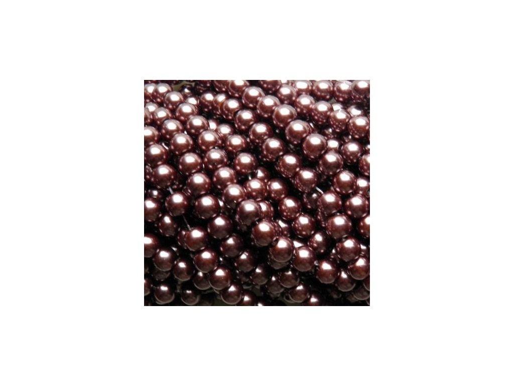 Korálky - voskované perle 6 mm hnědá (DOVOZ)