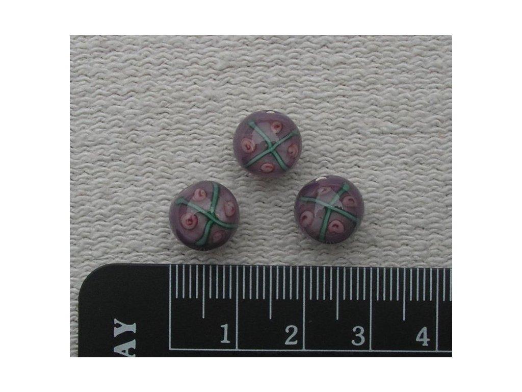 Vinutá kulička - fialová s růžičkami 10 mm