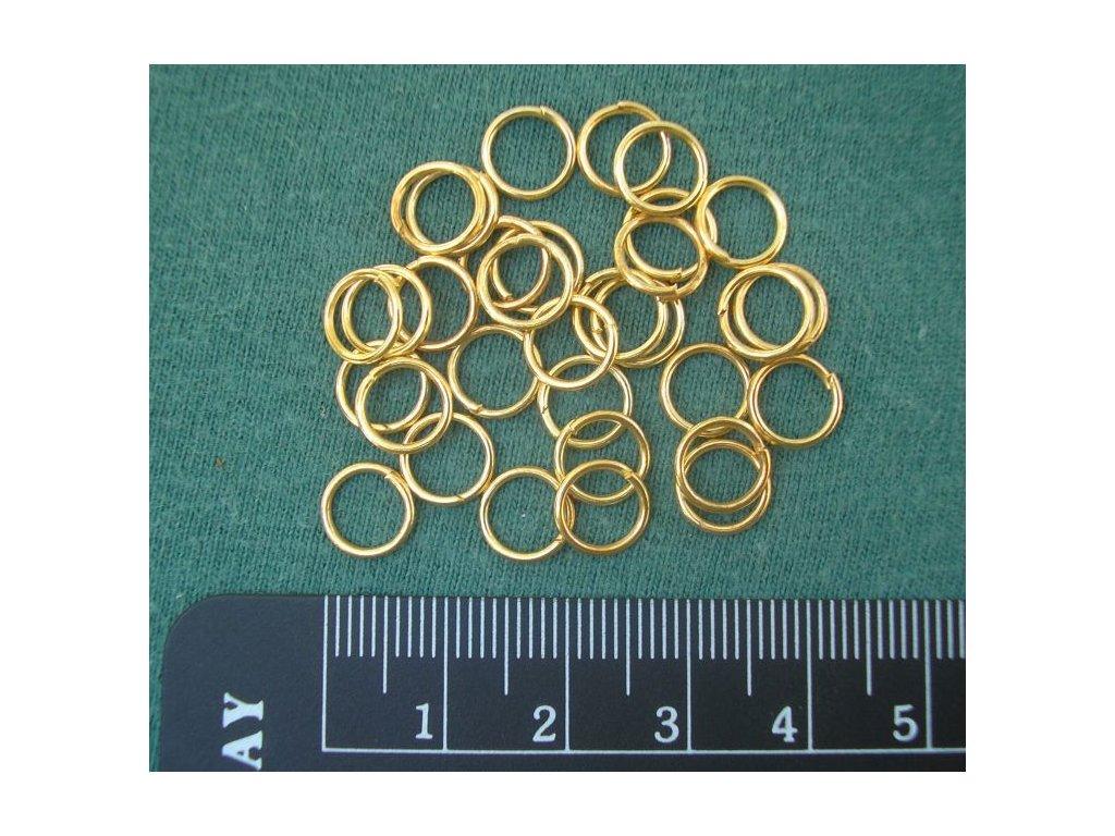 Bižuterní komponenty - spojovací kroužek zlatý 8 mm - 20 ks