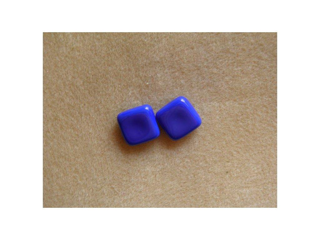 Korálky mačkané - čtverečky dvoudírové - modré (MKL50/4)