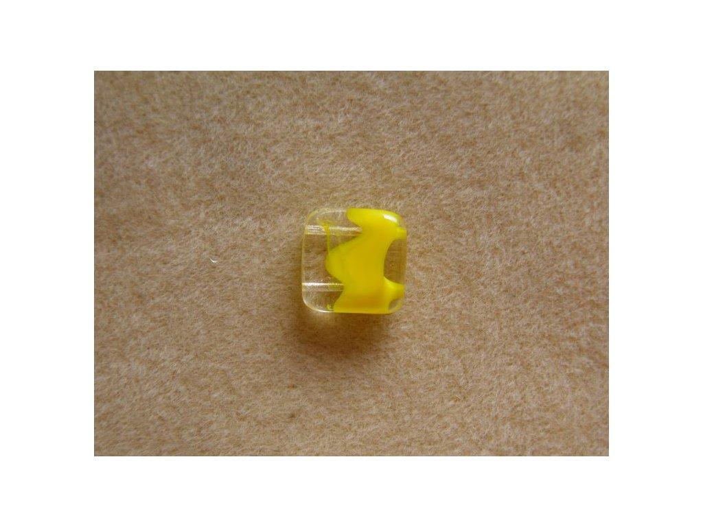 Korálky mačkané - čtverečky dvoudírové - krystal+žlutá (MKL50/6)