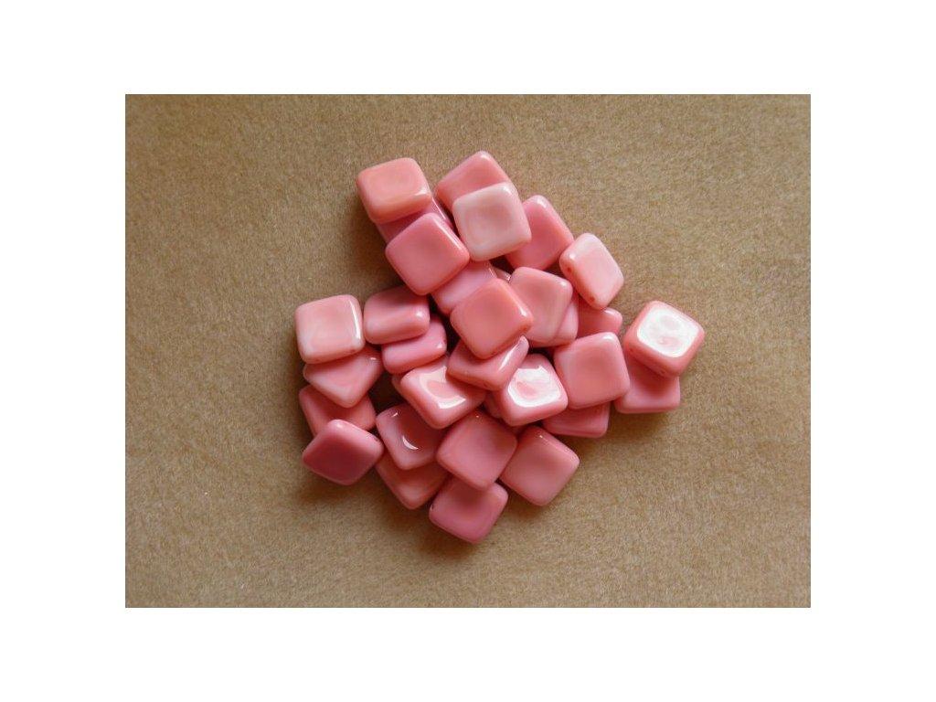 Korálky mačkané - čtverečky dvoudírové - bílo-růžové hedvábí (MKL50/11)