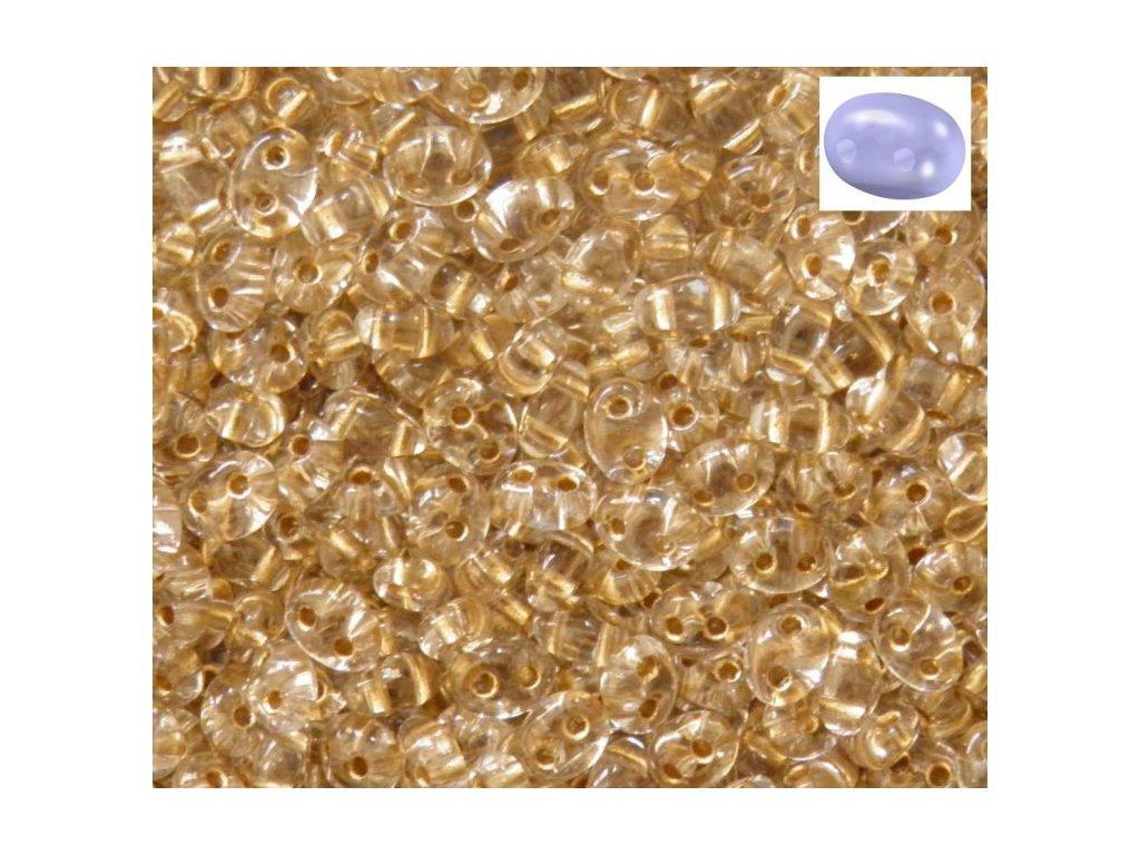 Korálky PRECIOSA Twin™ - krystal s bronzovým průtahem 68106