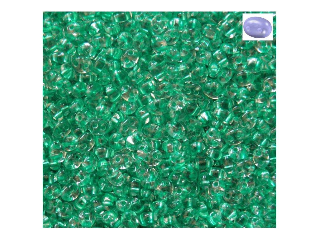Korálky PRECIOSA Twin™ - krystal se zeleným průtahem