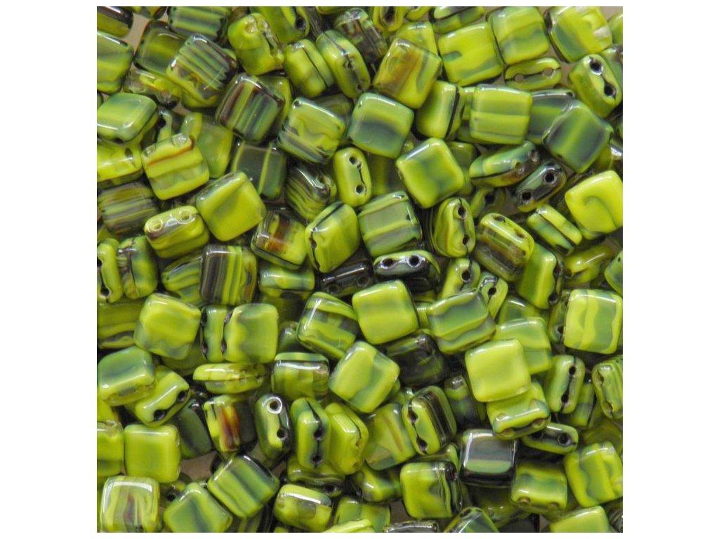 Korálky dvoudírové - čtvereček 6 mm - 26807