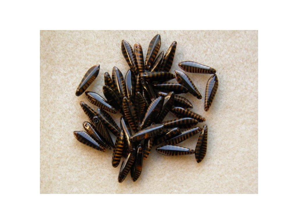 Korálky mačkané - jazýček černý s hnědými proužky - 5 mm x 16 mm