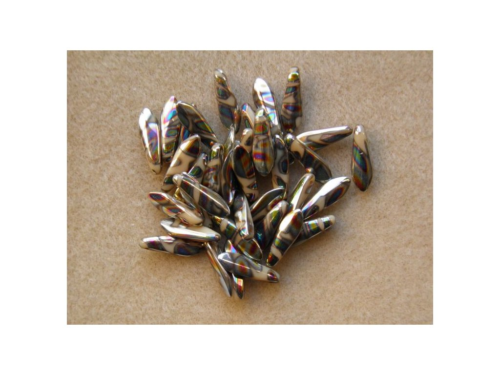 Korálky mačkané - jazýček béžový AB proužky - 5 mm x 16 mm