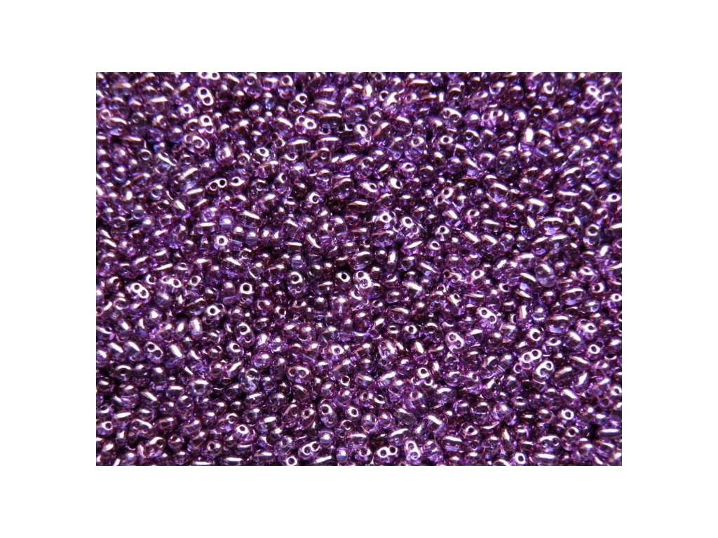 Korálky PRECIOSA Twin™ - fialový dekor 48025