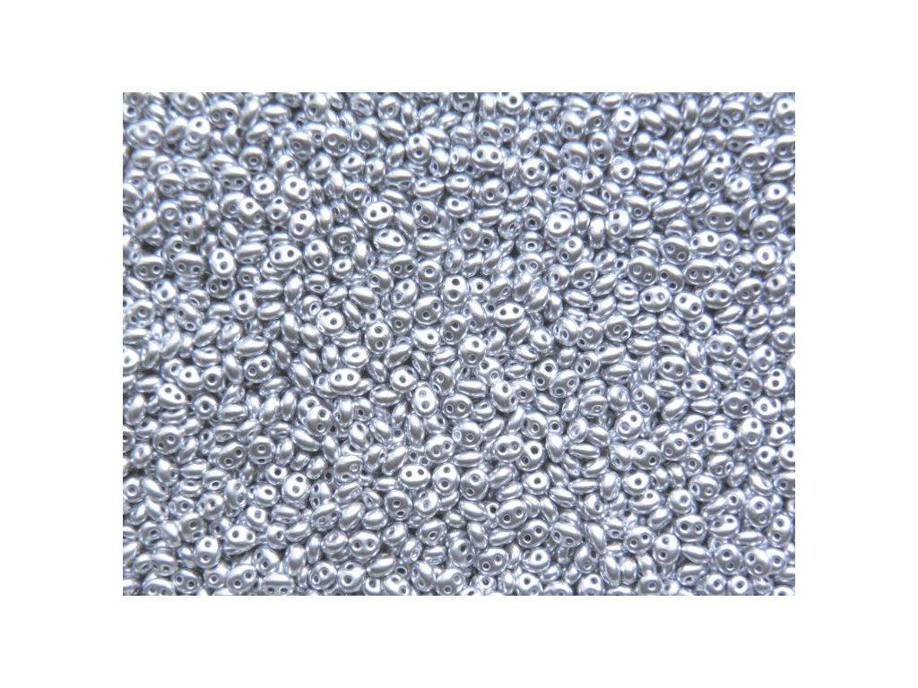 Korálky PRECIOSA Twin™ - metalický stříbrný 01700