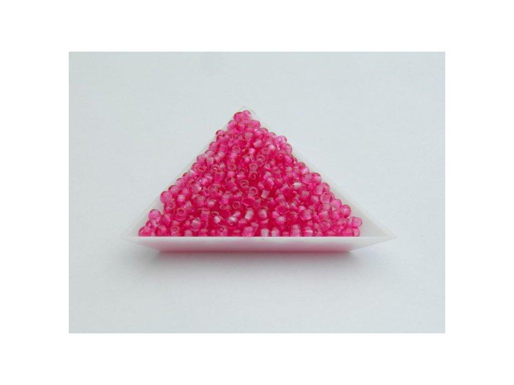 Korálky mačkané - rokajlové korálky růžové - 6/0 (3,8 mm)