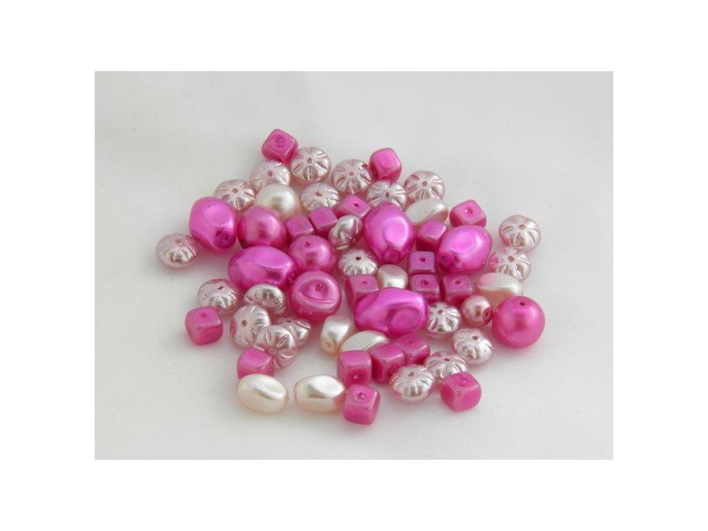 Korálky - voskované perle růžový MIX