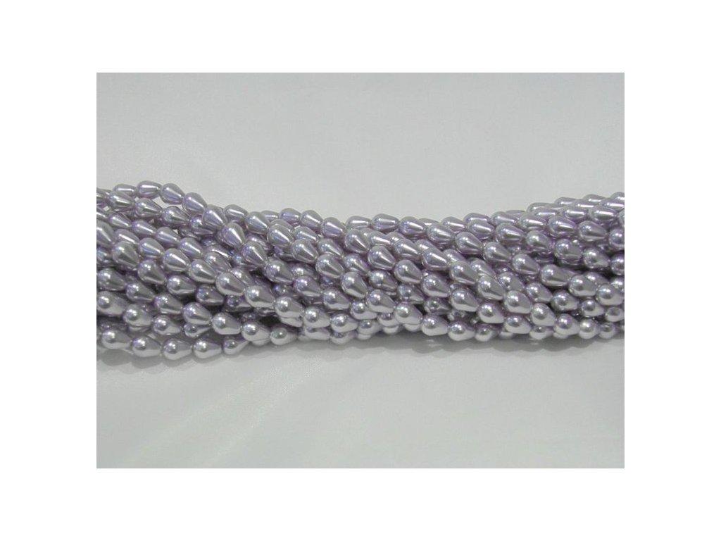 Korálky - voskované hrušky - 7 x 5 mm - světle šeříkové
