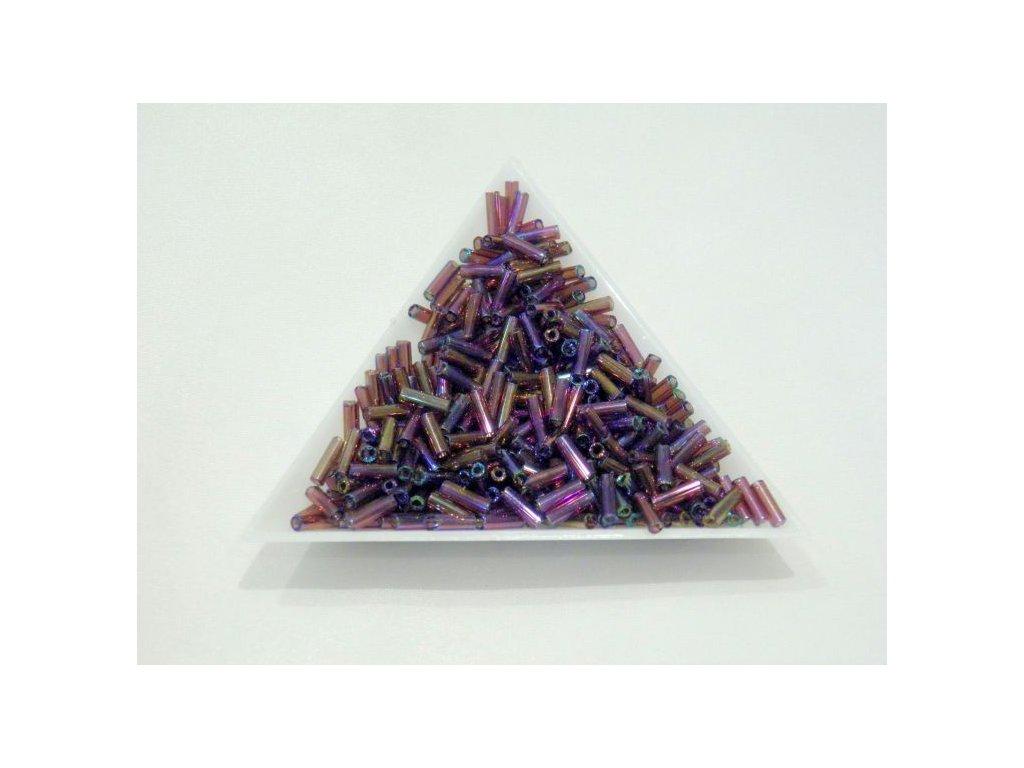 Korálky - rokajlové trubičky - fialové duhové 6,5 mm