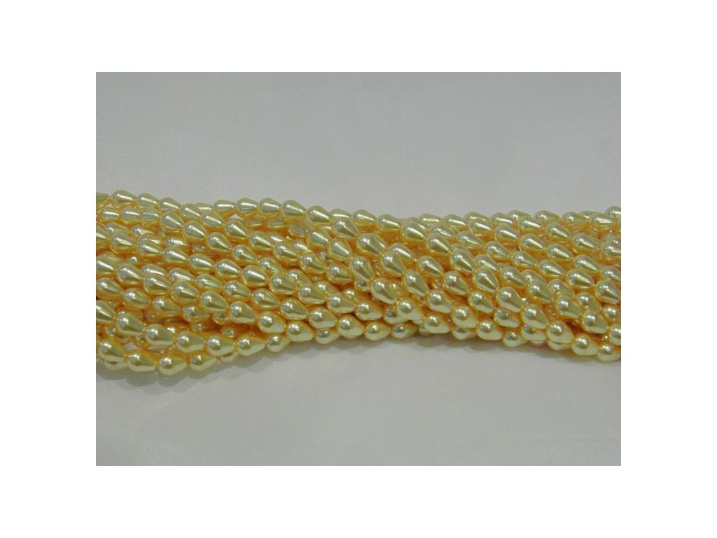 Korálky - voskované hrušky - 9 x 6 mm - medově žluté