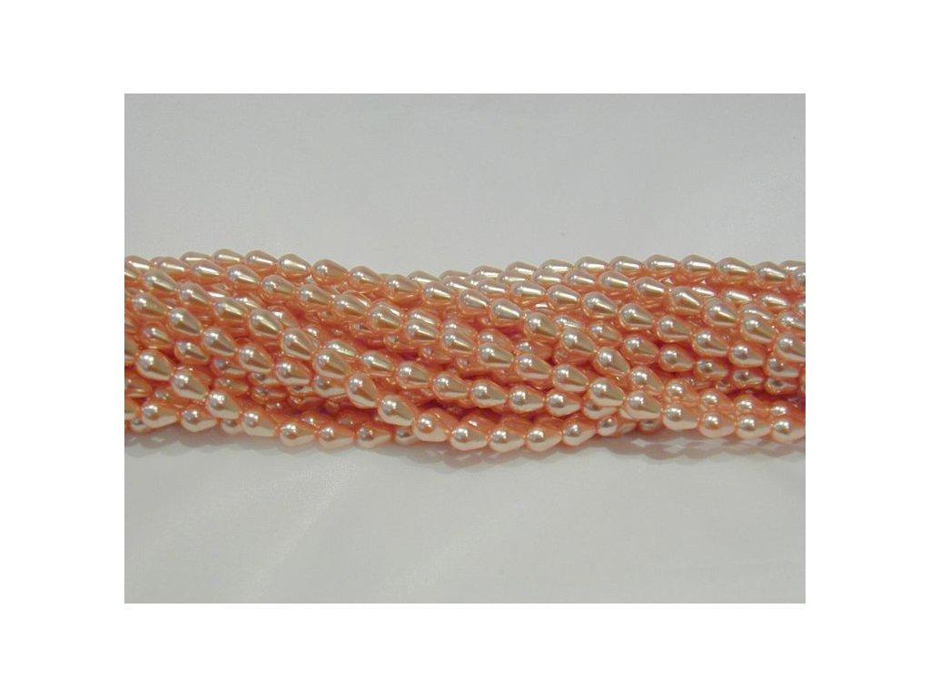 Korálky - voskované hrušky - 9 x 6 mm - světle oranžové