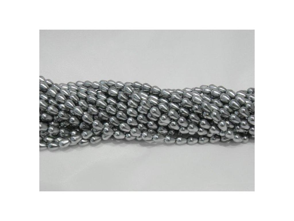 Korálky - voskované hrušky - 9 x 6 mm - šedé