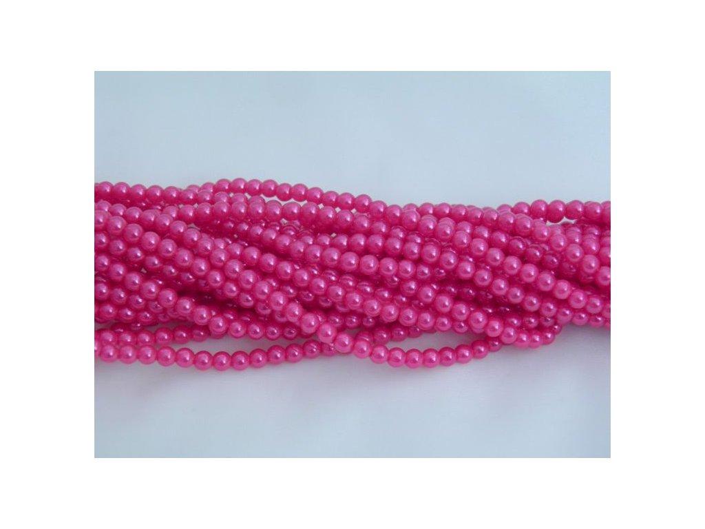 Korálky - voskované perle 4 mm - růžové