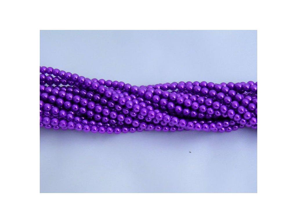 Korálky - voskované perle 4 mm - fialové