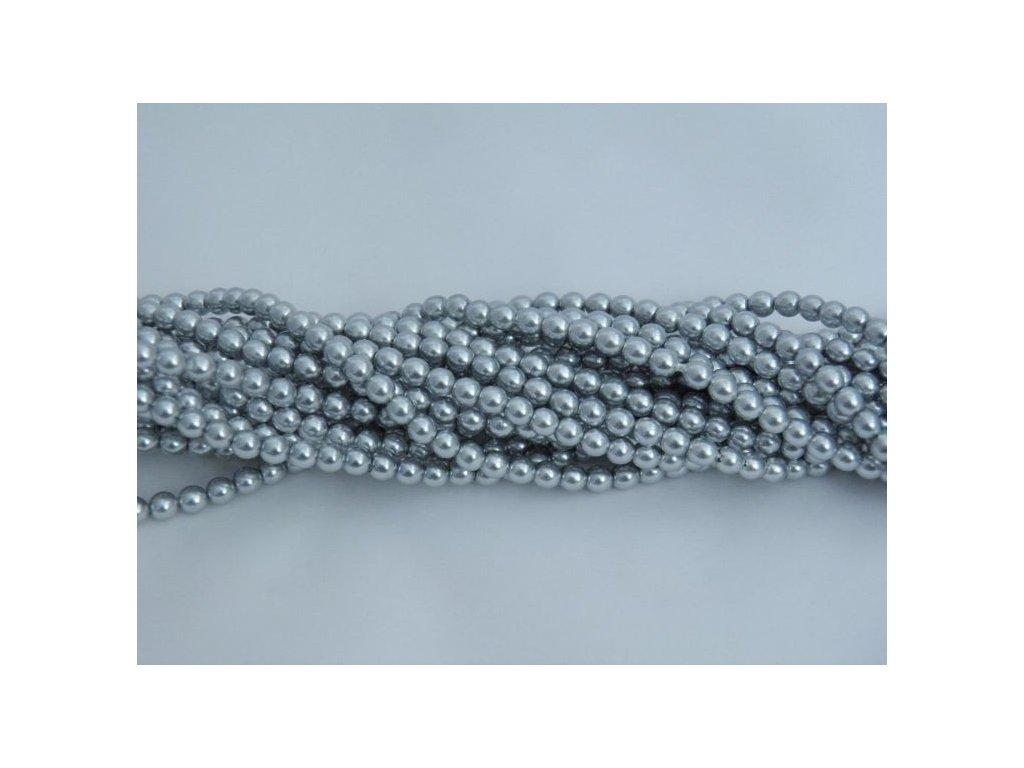 Korálky - voskované perle 4 mm - světle šedé