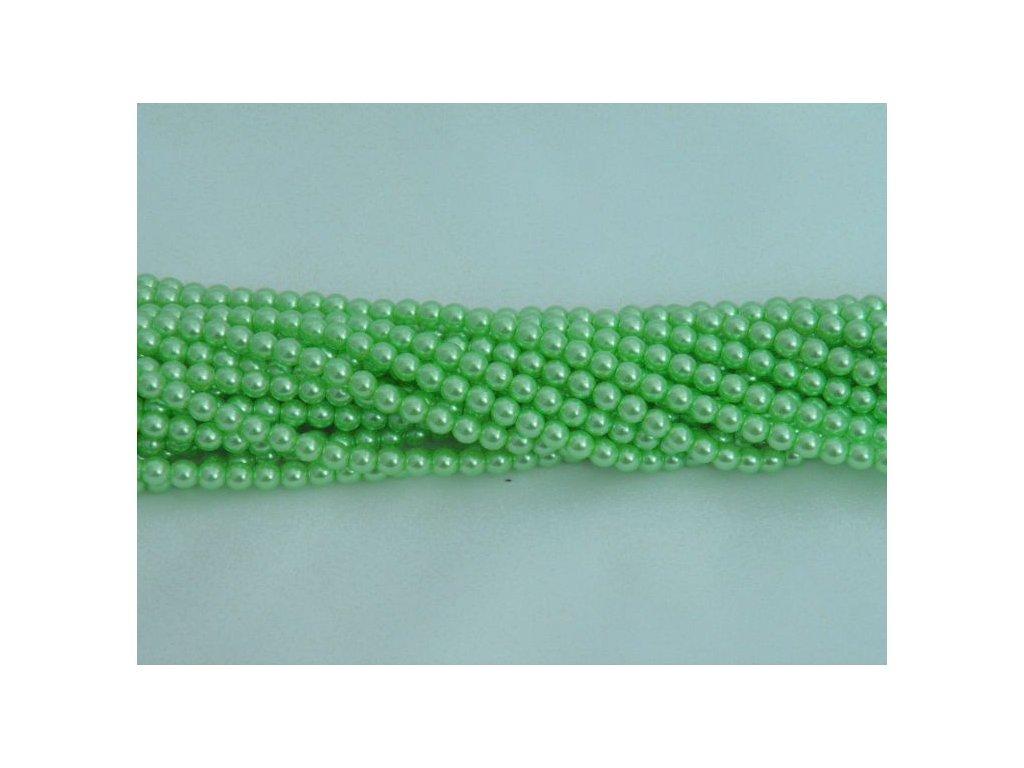 Korálky - voskované perle 4 mm - zelené