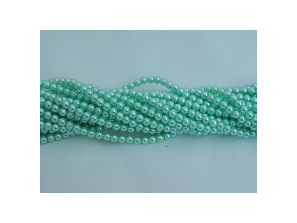 Korálky - voskované perle 4 mm - sv. tyrkysové