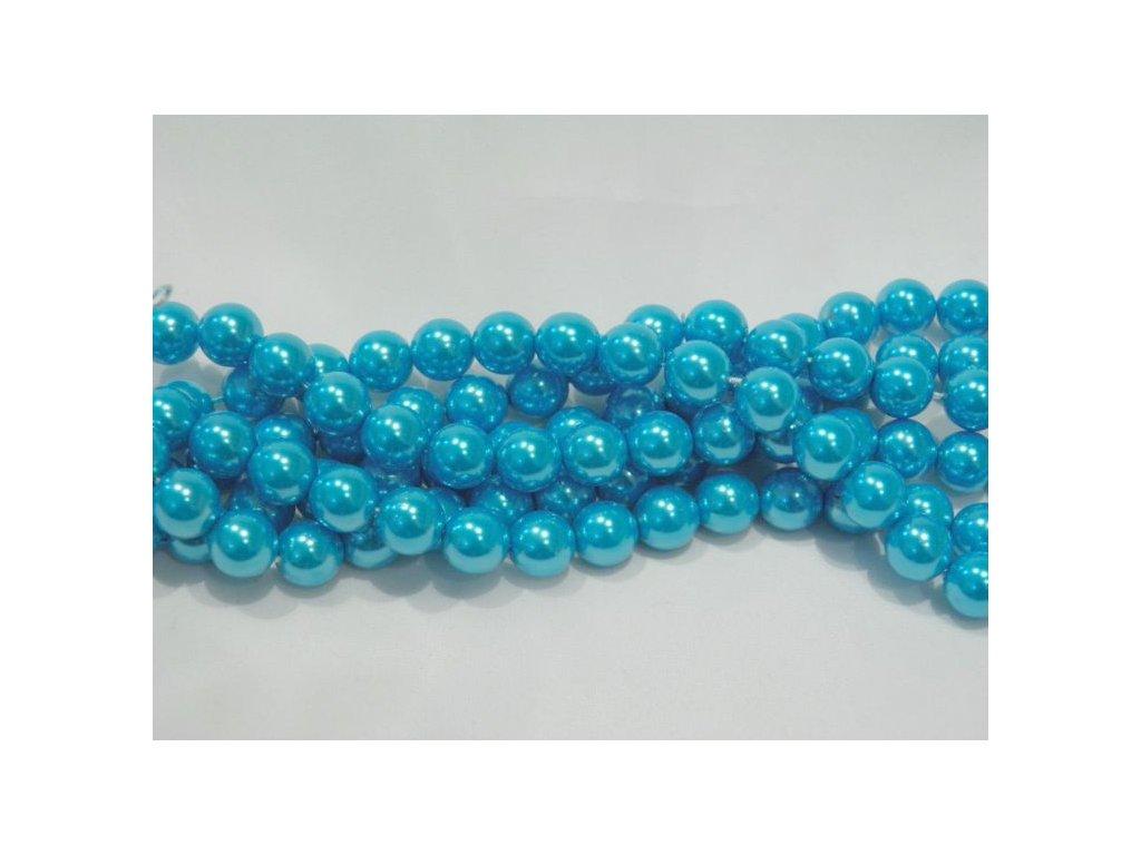 Korálky - voskované perle 10 mm modré