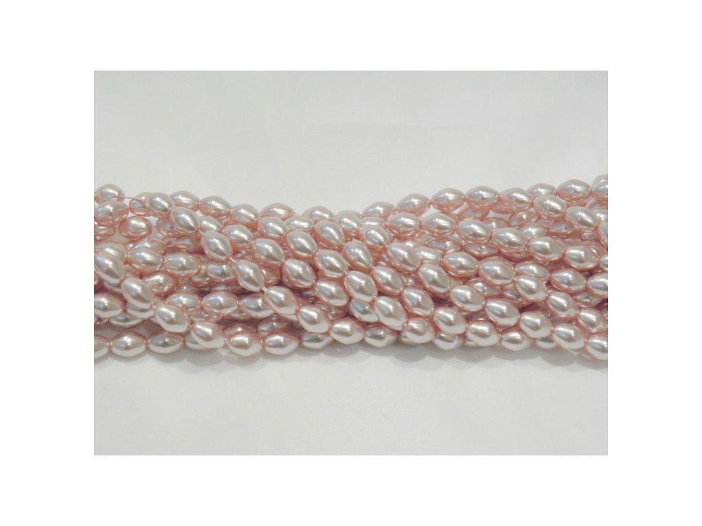 Korálky - voskované olivky - 6 x 4 mm - starorůžové