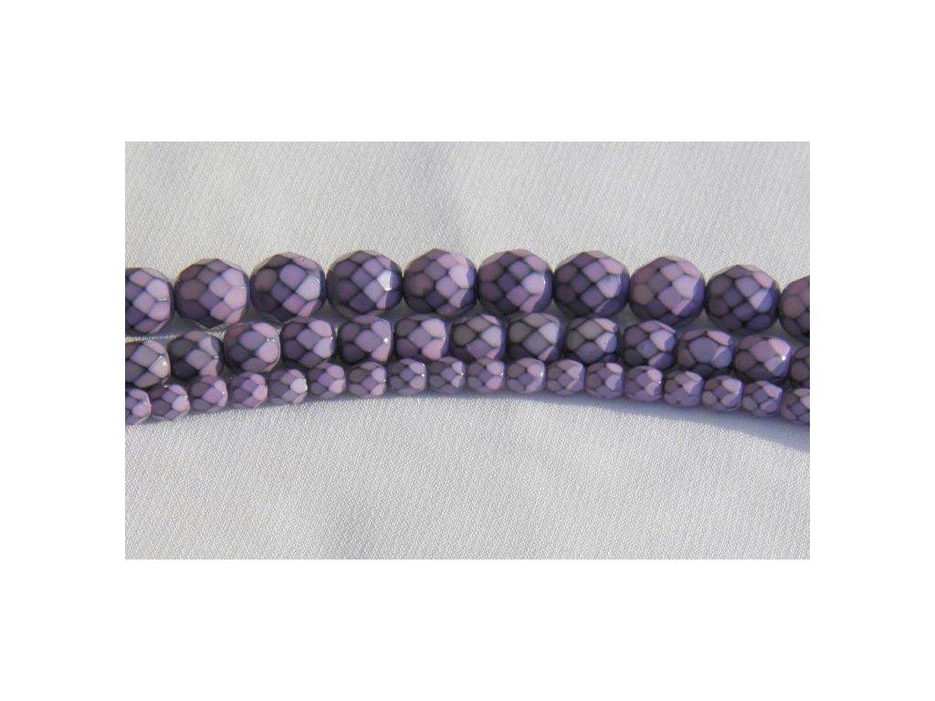 Korálky broušené - ohňovka Snake 8 mm - fialová