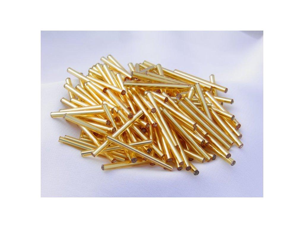 Korálky - rokajlové tyčky 20 mm - zlaté rovné 17050 (T22)
