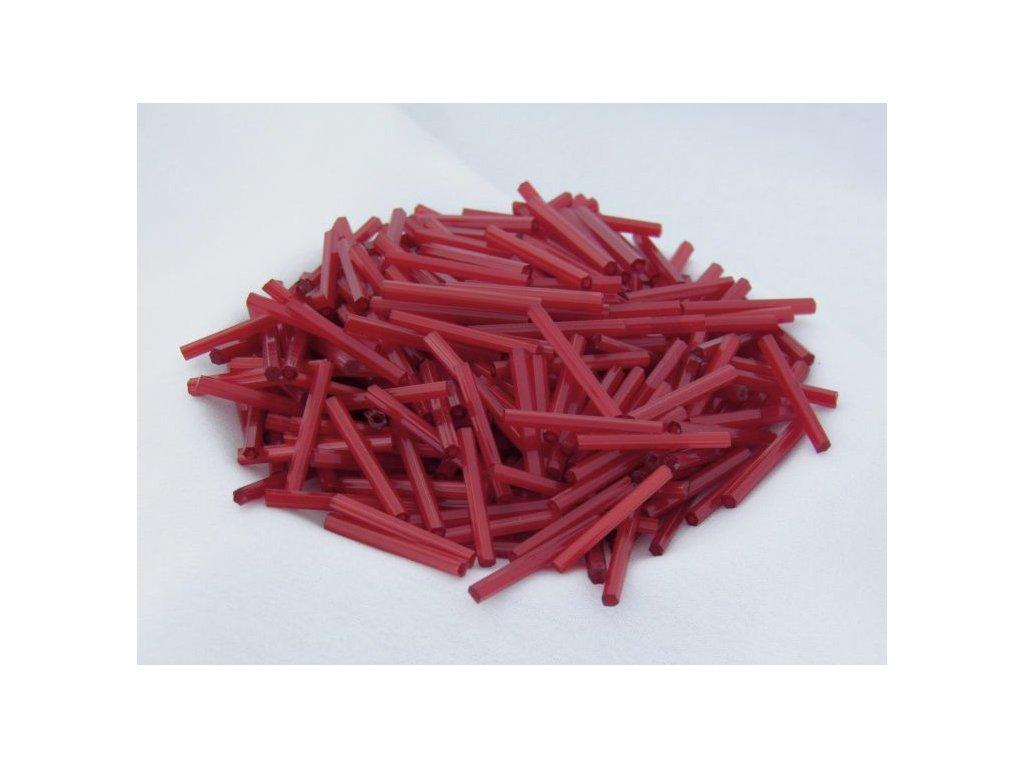 Korálky - rokajlové tyčky 35 mm - atlasové červené 95081 (T401)