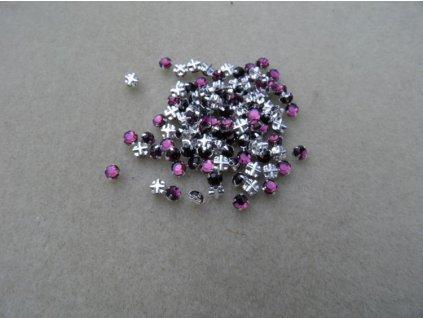 Korálky broušené - šatonová růže extra ametyst (SS20)