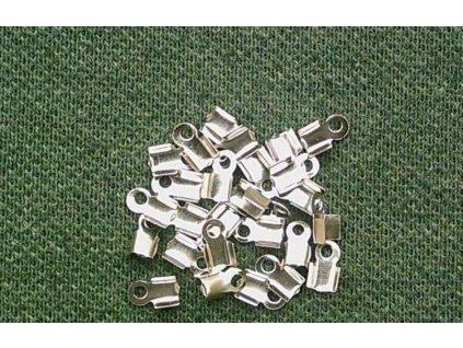 Bižuterní komponenty - koncovka na kůži platina 3 mm