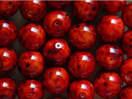 Korálky mačkané - MKL022 - kulička 12 mm - červená žula