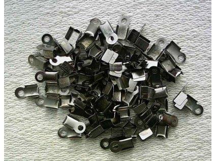 Bižuterní komponenty - koncovka na kůži černá 3 mm