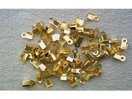 Bižuterní komponenty - koncovka na kůži zlatá 4 mm - 20 ks