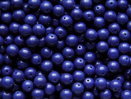 Korálky mačkané - kulička 8 mm - 33400 sytá tmavá modro-fialová