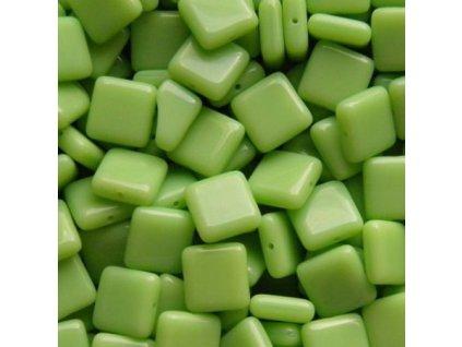Korálky mačkané - BP33 - zelený čtvereček - 10 mm