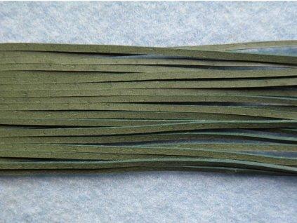 Kožený řemínek plochý - č. 06 - khaki