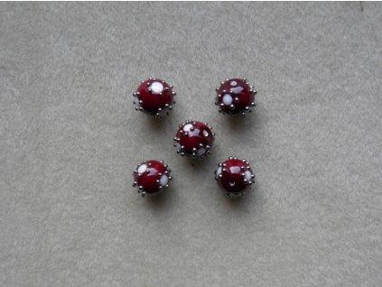 Vinutá kulička vinová s bílými puntíky zdobené špíglem 10 mm